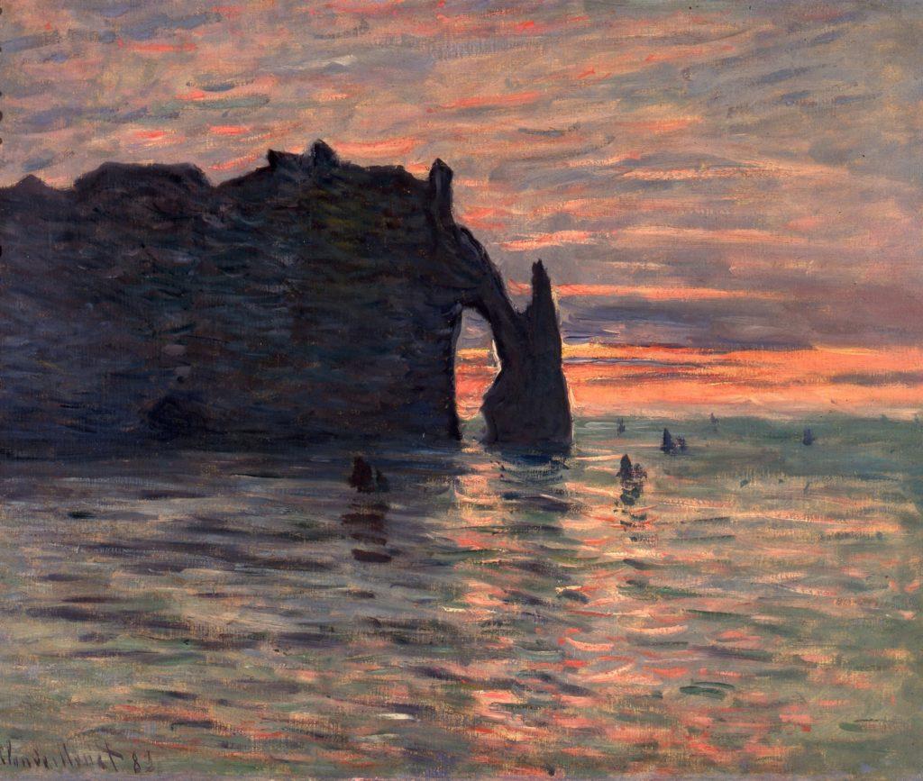 Claude Monet, Coucher de soleil à Etretat, 1883
