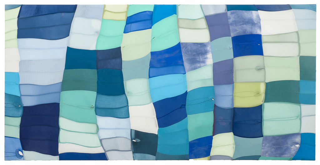 Turiya Magadlela, Isibeleto sika gogo siluhlaza (2017) | Nylon and cotton pantyhose, thread and sealant on canvas |151 x 300 x 10cm | Image courtesy of the artist and blank projects
