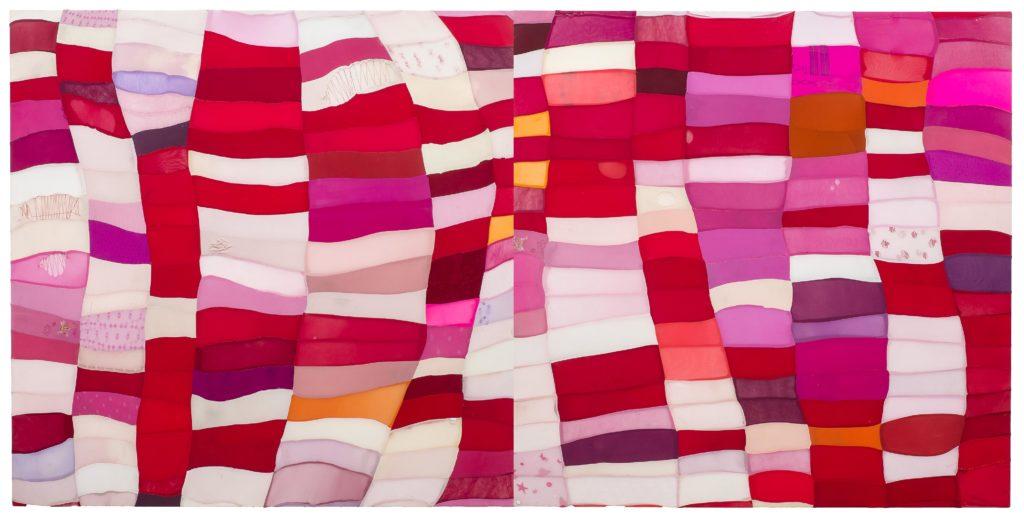 Turiya Magadlela, Sithanda Ubuhlungu intoko igazi nenzondo (2017) | Nylon and cotton pantyhose, thread and sealant on canvas | 2000 x 200 x 5 cm | Image courtesy of the artist and blank projects