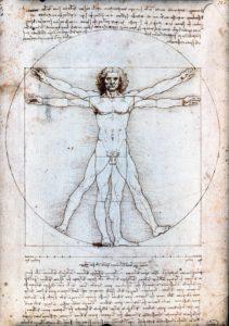 Leonard de Vinci, Homme de Vitruve, 1490, Galeries de l'Académie