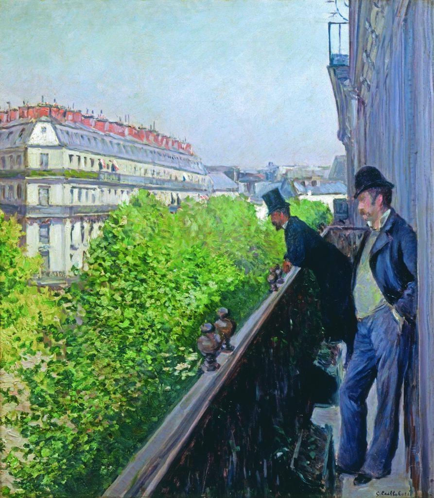 Gustave Caillebotte, Balcon, boulevard Haussmann, 1880, Collection particulière, © Galerie Brame et Lorenceau, Paris