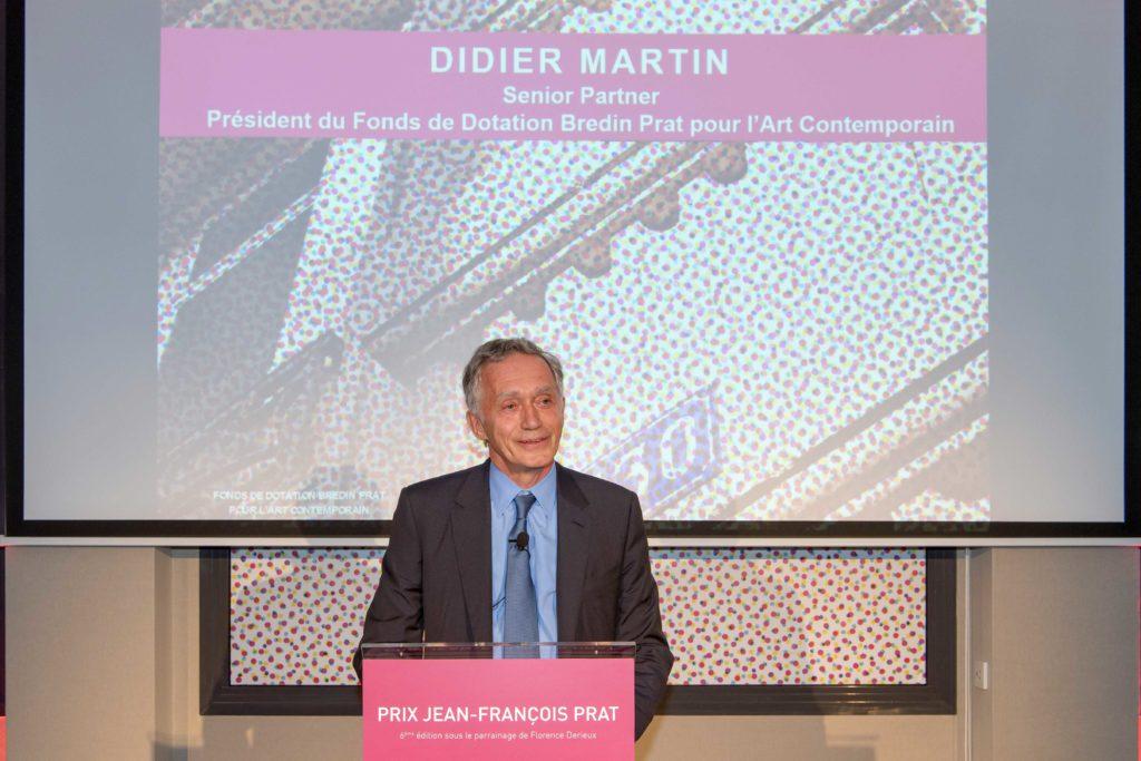 Chairman of the Bredin Prat Non Profit Fund for Contemporay Art Didier Martin hosting the 2017 Jean-Francois Prat Prize in Paris, Photo credit Luc Castel