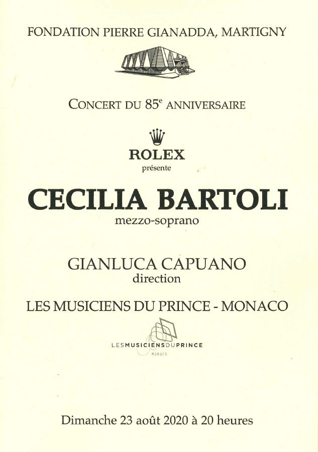Fondation Pierre Gianadda affiche Cecilia Bartoli, Gianluca Capuano, Chœur de l'Opéra de Monte-Carlo, Les Musiciens du Prince