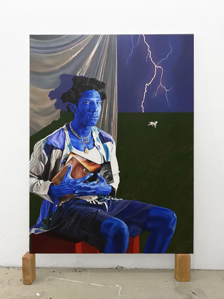 Chloë Saï Breil-Dupont, Cobalt Mystique, portrait de Yann, 2021 Huile sur toile, 190 x140 cm © The artist. Courtesy the artist Crédit Photo - Yotam Schwartz