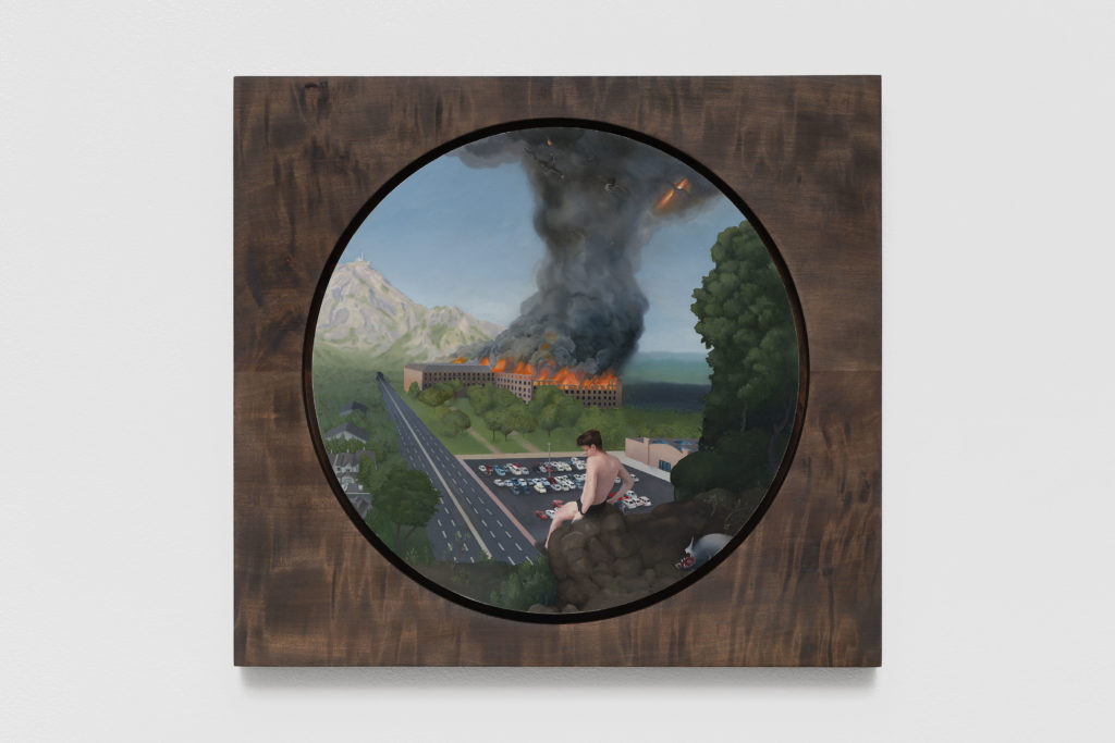 Jean Claracq, Landscape with the Temptation, 2019 Huile sur toile 30,5 x 33,5 cm © The artist. Courtesy the artist & Galerie Sultana